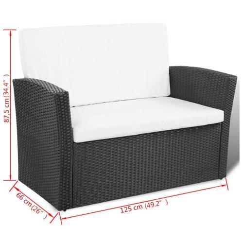vidaXL Conjunto de sofá para jardim 10 pcs vime preto