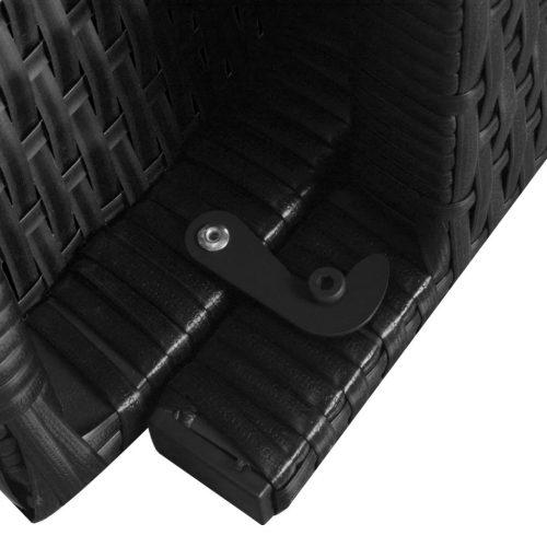 vidaXL Espreguiçadeiras dobráveis com mesa 2 pcs vime PE preto