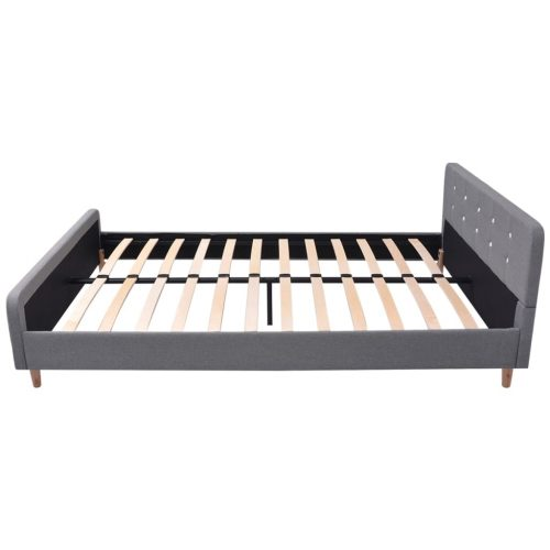 vidaXL Estrutura de cama 140×200 cm estofada a tecido, cinzento claro