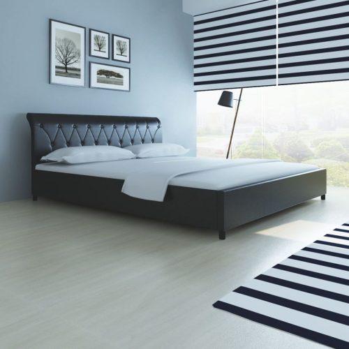 vidaXL Estrutura de cama, couro artificial, 180×200 cm, preto