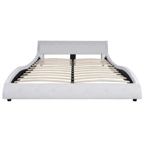 vidaXL Cama com colchão couro artificial 140×200 cm branco