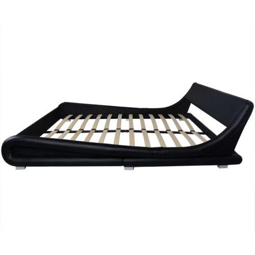 vidaXL Cama espuma memória couro artificial 180×200 cm ondulada preto