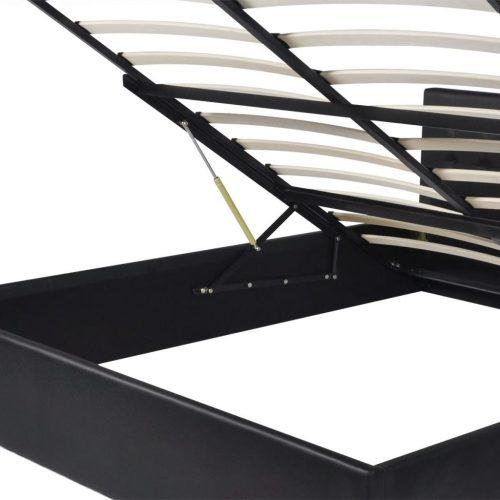 vidaXL Cama elevação a gás + colchão couro artificial 160×200 cm preto