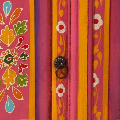 vidaXL Armário TV madeira mangueira maciça rosa, pintado à mão