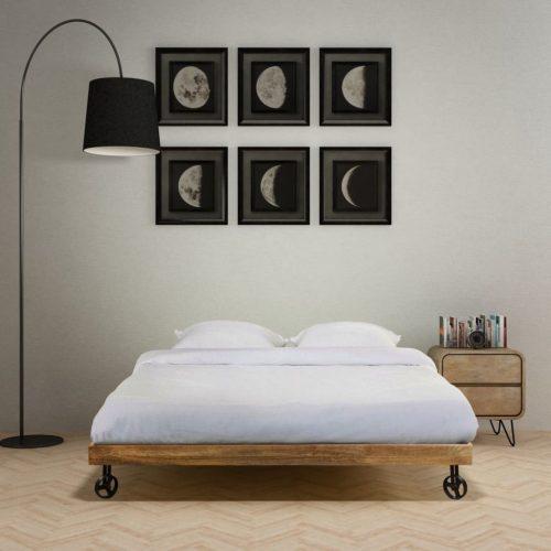 vidaXL Cama com colchão madeira de mangueira áspera 140×200 cm