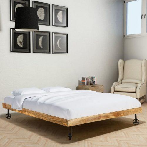 vidaXL Cama + colchão memória madeira de mangueira áspera 140×200 cm