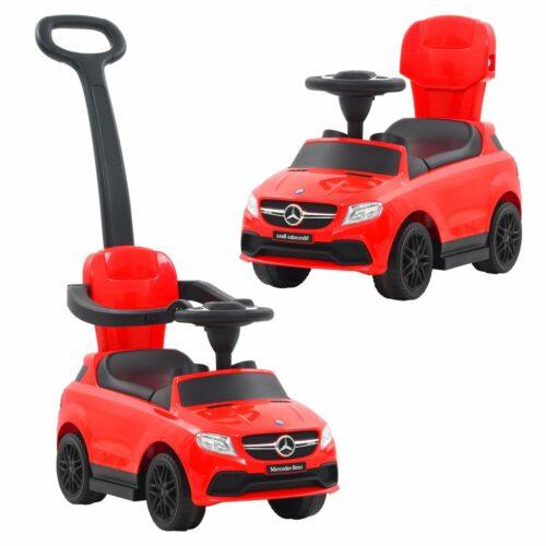 vidaXL Carro passeio c/ barra de empurrar Mercedes Benz GLE63 vermelho