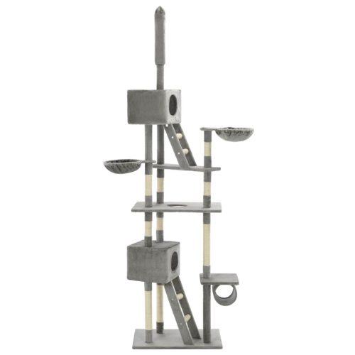 vidaXL Árvore p/ gatos c/ postes arranhadores sisal 230-260cm cinzento