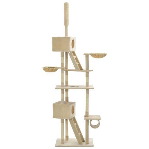 vidaXL Árvore para gatos c/ postes arranhadores sisal 230-260 cm bege