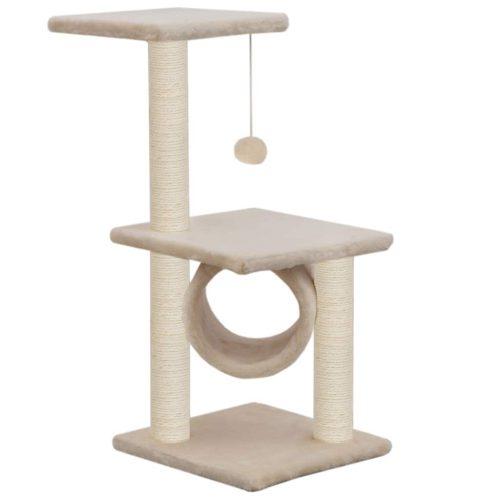 vidaXL Árvore para gatos c/ postes arranhadores sisal 65 cm bege