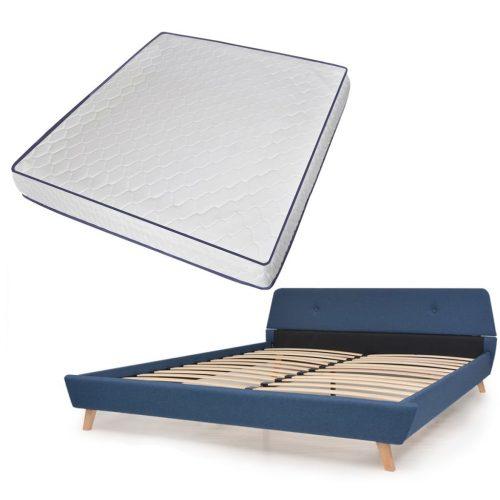 vidaXL Cama com colchão espuma memória 180×200 cm tecido azul