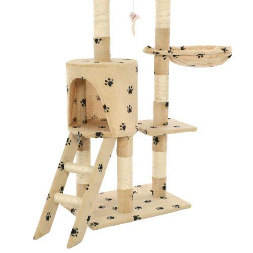 vidaXL Árvore para gatos c/postes arranhadores sisal 138 cm bege