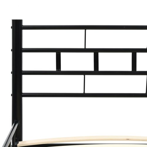 vidaXL Cama metal c/ colchão espuma de memória 180x200cm preto blocos