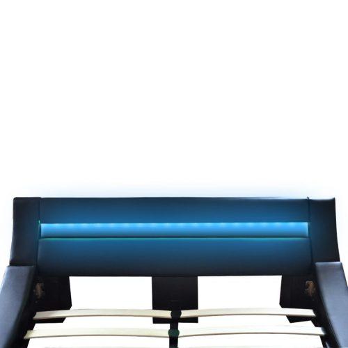 Cama onda couro artificial faixa LED+colchão memória 140x200cm preto
