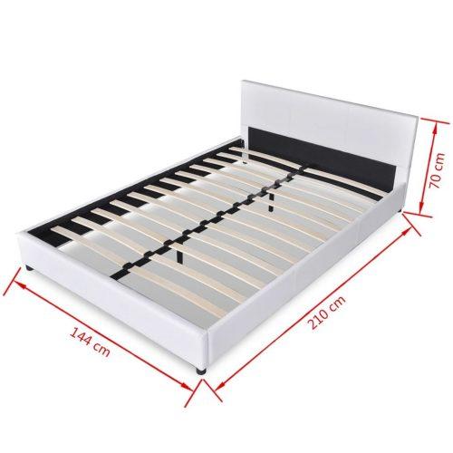 vidaXL Estrutura de cama 140 x 200 cm couro artificial branco