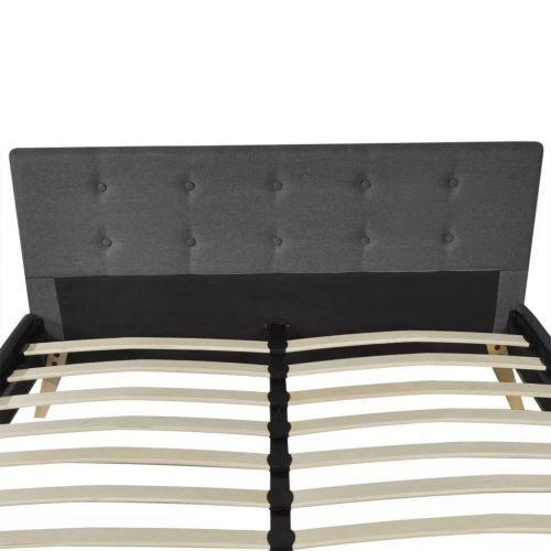 Cama madeira com estofo em tecido, 200 x 140 cm, cinzento escuro
