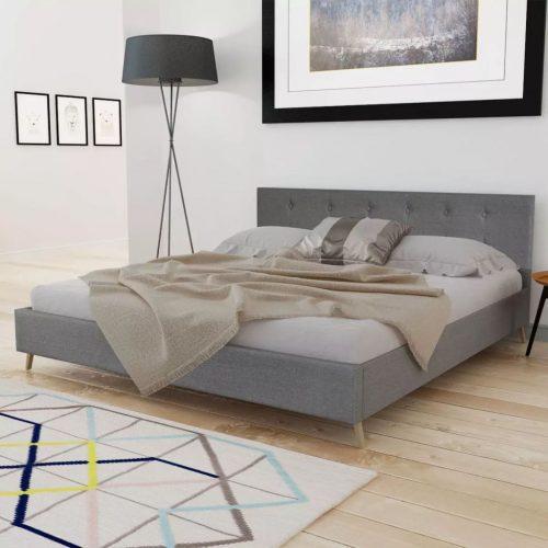 Cama madeira com estofo em tecido, 200 x 160 cm, cinzento claro