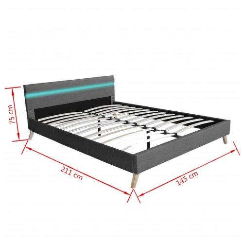 vidaXL Estrutura de cama com LED 140 x 200 cm tecido cinzento claro