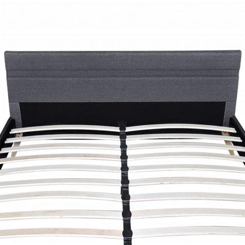 vidaXL Estrutura de cama com LED 140 x 200 cm tecido cinzento escuro