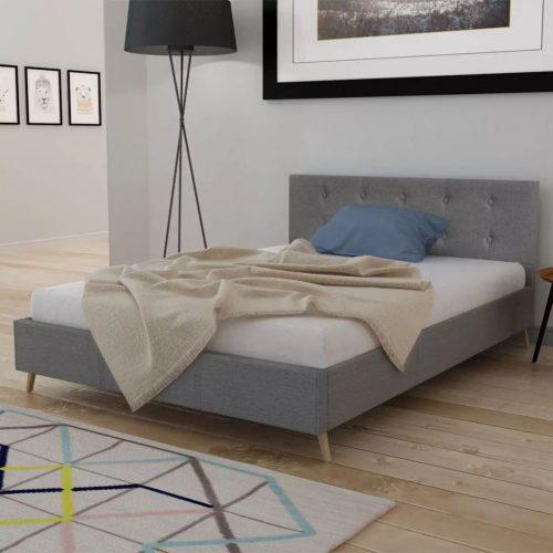 vidaXL Cama com colchão 140 x 200 cm tecido cinzento claro