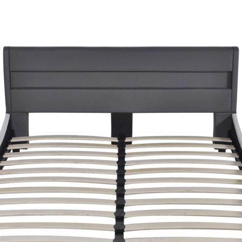 Cama com cabeceira com luzes LED de couro artificial, 140 cm, cinzento