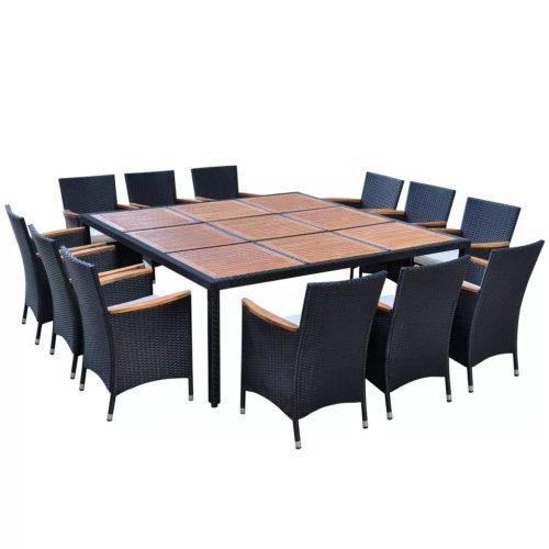 vidaXL Conjunto de jantar para jardim 200×200 cm vime preto