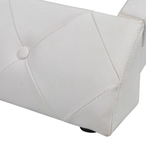 vidaXL Estrutura de cama 160×200 cm couro artificial branco