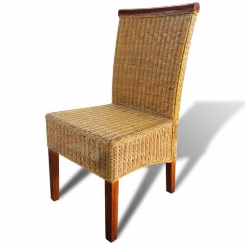Cadeiras de jantar 2 pcs em vime castanho