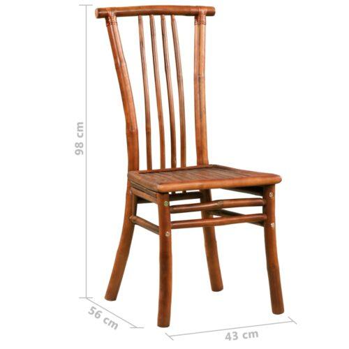 Cadeiras de jantar 2 pcs bambu 43x56x98 cm castanho