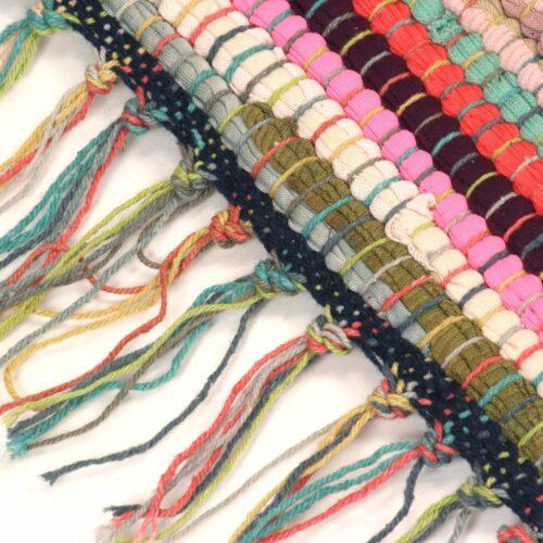 Tapete chindi tecido à mão algodão 120×170 cm multicor