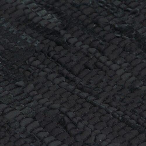 Tapete chindi tecido à mão couro 190×280 cm preto
