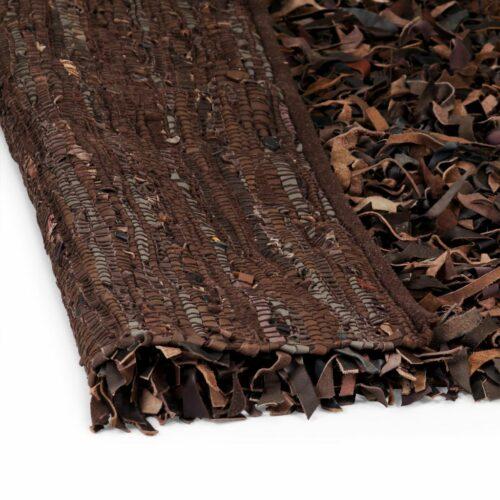 Tapete shaggy couro genuíno 160×230 cm castanho
