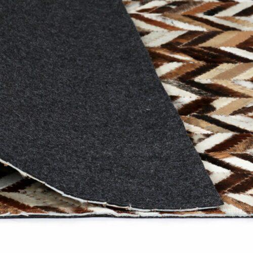 Tapete couro genuíno retalhos 80×150 cm chevron branco/castanho