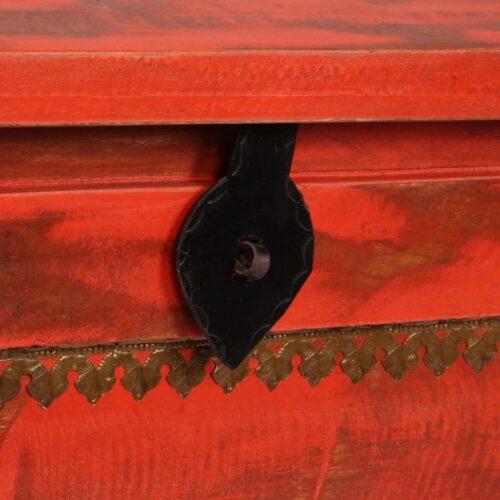 Arca de arrumos madeira mangueira maciça 101x39x42 cm vermelha