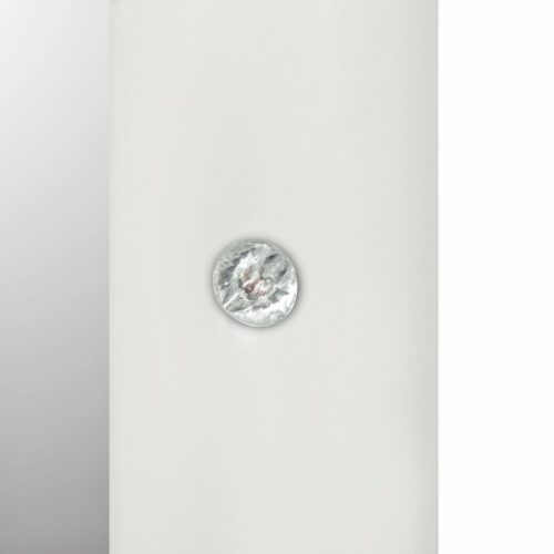 Espelho de parede couro artificial 60×60 cm branco brilhante