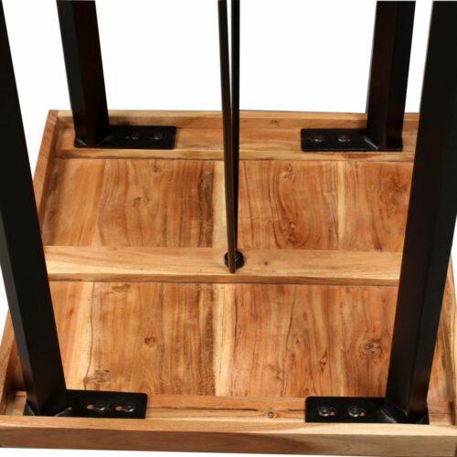 Conjunto de bar 3 pcs madeira sheesham maciça e couro genuíno