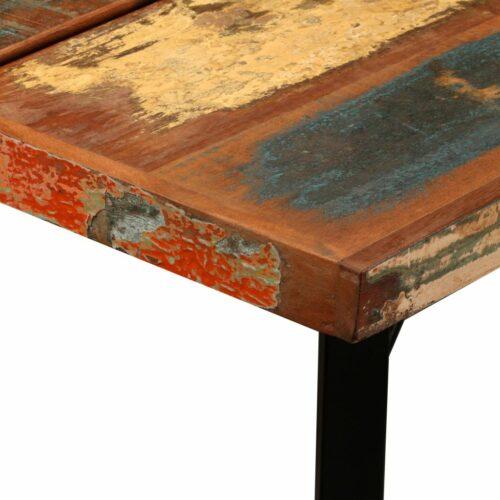 Conjunto de bar 9 pcs madeira recuperada maciça e couro genuíno