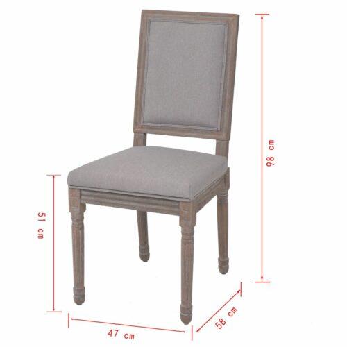 Cadeiras de jantar 6 pcs linho 47x58x98 cm cinzento claro