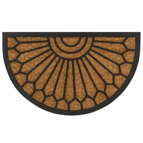 Tapete de porta fibra de coco e borracha semicircular 45×75 cm