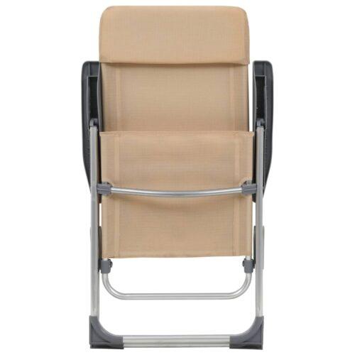 Cadeiras de campismo dobráveis 4 pcs alumínio creme