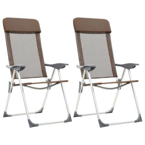 Cadeiras de campismo dobráveis 2 pcs alumínio castanho