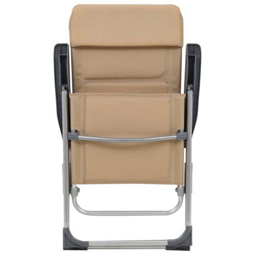 Cadeiras de campismo 2 pcs 58x69x111 cm alumínio creme