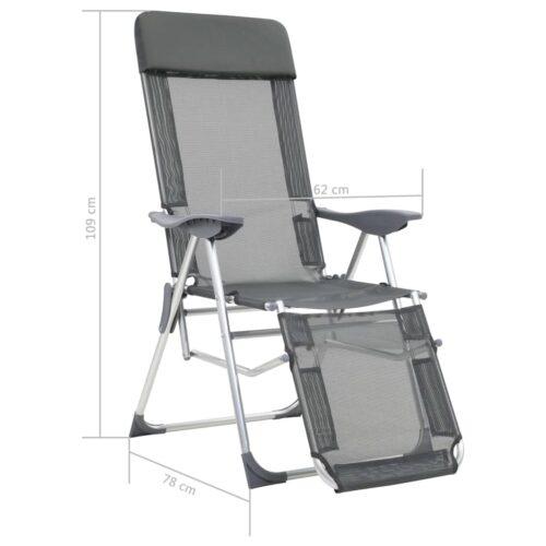 Cadeiras campismo dobráveis c/ apoio pés 2 pcs alumínio cinza