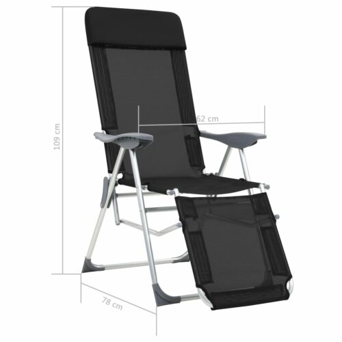 Cadeiras campismo dobráveis c/ apoio pés 2 pcs alumínio preto