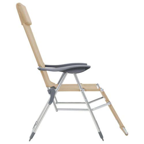 Cadeiras campismo dobráveis c/ apoio pés 2 pcs alumínio creme