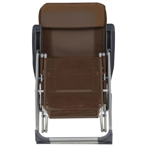 Cadeiras campismo dobr. apoio pés 2 pcs alum. cinza-acastanhado