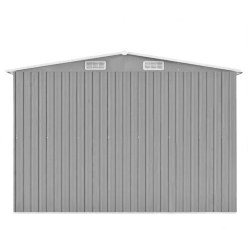 Abrigo de jardim 257x597x178 metal cinzento