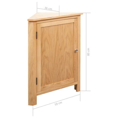 Armário de canto 59x36x80 cm madeira carvalho maciça