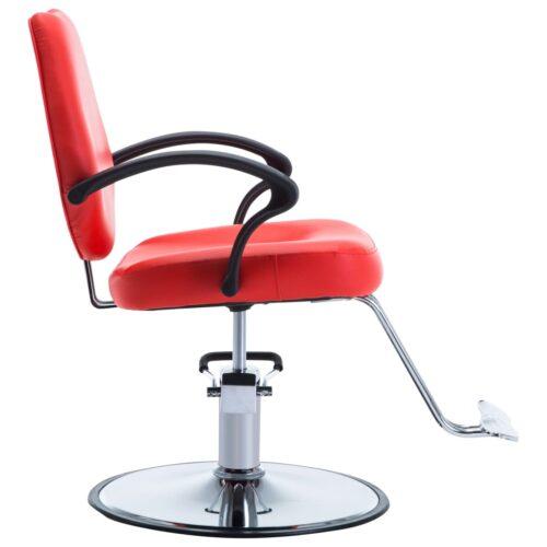 vidaXL Cadeira de barbeiro couro artificial vermelho