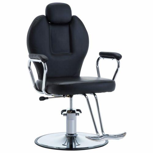 vidaXL Cadeira de barbeiro couro artificial preto